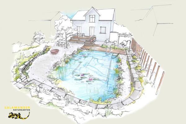 Perspektive auf Quartiergarten mit Schwimmteich