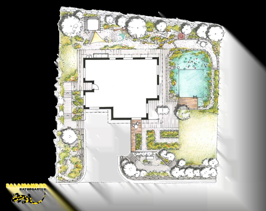 Grundrissplan Familiengarten mit Schwimmteich