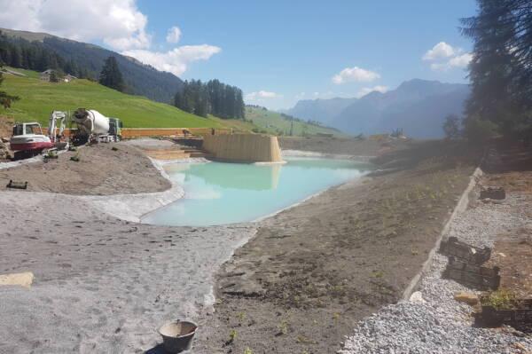 Badesee Lai da Padnal Bauphase See befüllen